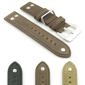 Strapsco dassari liberty leather strap with metal keeper and rivets