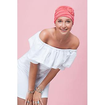 Chemo caps for young women - Primrose Coral