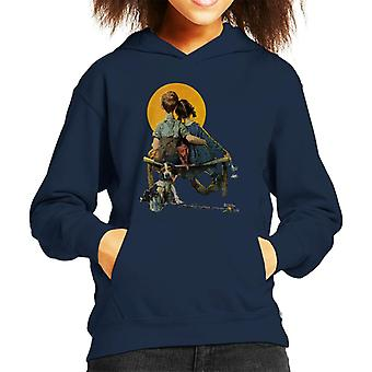 The Saturday Evening Post Norman Rockwell Sunset 1926 Cover Kid's Hooded Sweatshirt