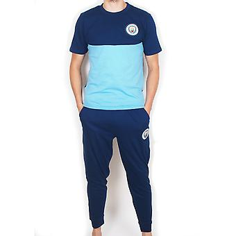 Manchester City FC Official Football Gift Mens Premium Long Pyjamas Set