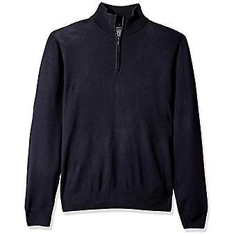 Goodthreads Hombres's Merino Wool Quarter Zip Sweater, Navy, Large