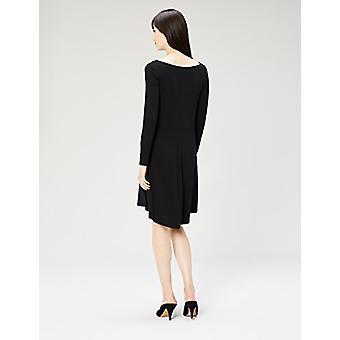 Brand - Daily Ritual Women's Jersey Long-Sleeve Bateau-Neck Dress, Bla...