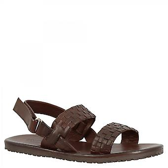 Leonardo Shoes Men's handmade flat sandals in brown woven calf leather with velcro closure