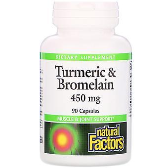 Natural Factors, Turmeric & Bromelain, 450 mg, 90 Capsules