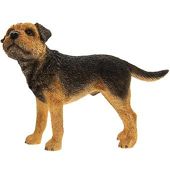 Standing Black and Tan Border Terrier Breed Dog Ornament