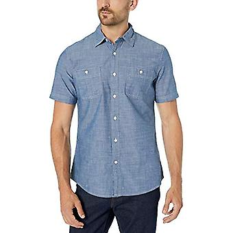 Essentials Men's Standard Slim-Fit Short-Sleeve Chambray Shirt, Sköljd...