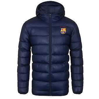 FC Barcelona Official Football Gift Mens Quilted Hooded Winter Jacket