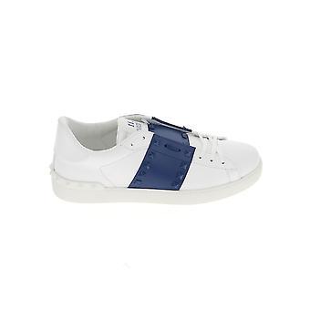 Valentino Garavani Uy2s0931ltu52q Heren's Wit/blauw lederen sneakers