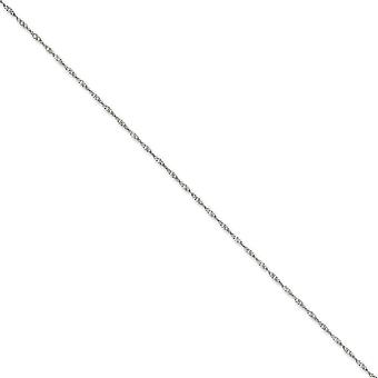 14k White Gold Polished 1.4mm Solid Singapore Chain Anklet Spring Ring Jewelry Gifts for Women - Length: 9 to 10