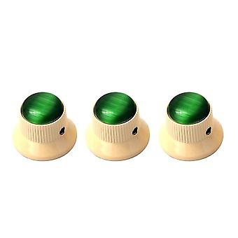 3PCS Green Gem Dome Knoppen Cream Metal Guitar Knobs Volume Tone Control Onderdelen