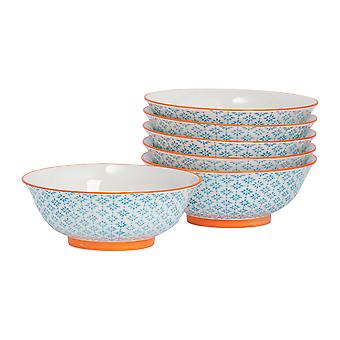 Nicola Spring 6 Piece Hand-Printed Ramen Noodle Bowl Set - Blue - 21.5cm