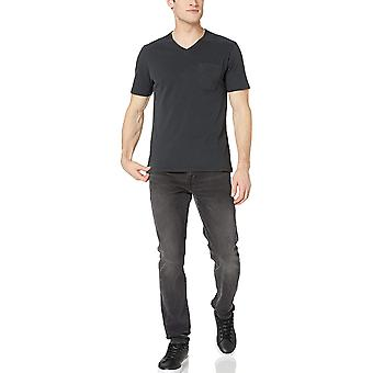 Goodthreads Men's Short-Sleeve Sueded Jersey V-Neck Pocket T-Shirt, Nero, Me...