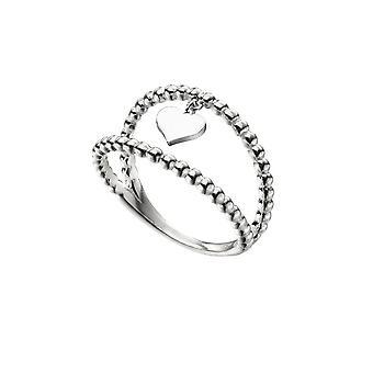 Начало стерлингового серебра двойной полосы мяч сердце шар шарм кольцо r3731