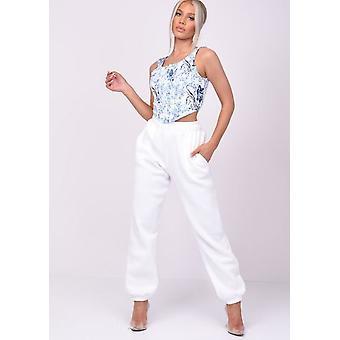 Pantalon taille haute surdimensionnée à la ceinture blanche