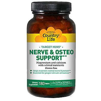 Country Life Target Mins Nerve & Osteo Support (Magnesium, Calcium And Related Nutrients), 1000 MG, 180 Tabs