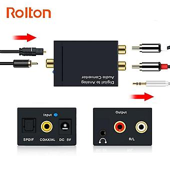 Audio Converter Optical Fiber Toslink Digital To Jack Analog L/r Rca Spdif