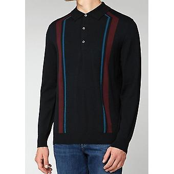 Black Striped Long-Sleeved Knitted Polo Shirt