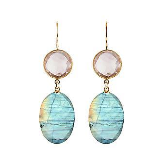 Gemshine Boucles d'oreilles ovale ovale et rose rond pierres précieuses. 925 Argent