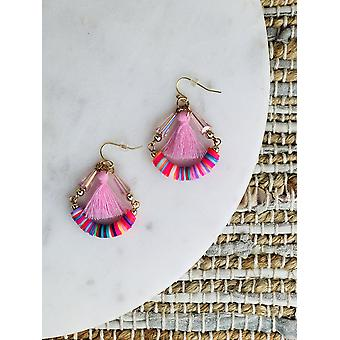 Abalorios del arco iris con pendientes de aro de borla de hilo de algodón