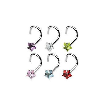 316L surgical steel nose screw with 3mm prong set gem star