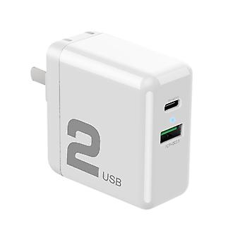 ROCK T13 Dual Port PD Travel Charger, For iPad , iPhone, Galaxy, Huawei, Xiaomi, LG, HTC and Other Smart Phones, Rechargeable Devices (White)