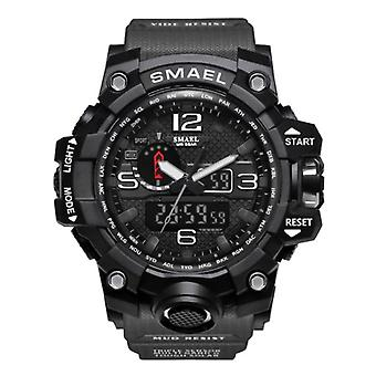 SMAEL Military Dive Watch for Men - Rubber Strap Quartz Movement Analog Digital for Men Gray