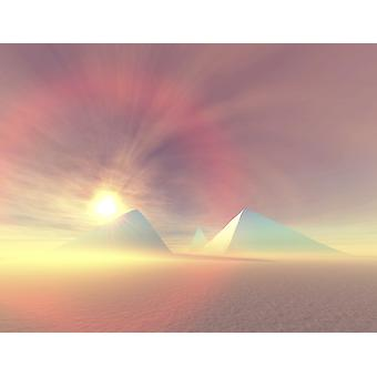 The sun rises on Egyptian pyramids on a desert morning Poster Print