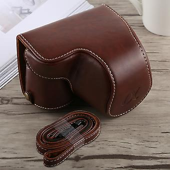 Full Body Camera PU Leather Case Bag with Strap for Sony A6300(Coffee)