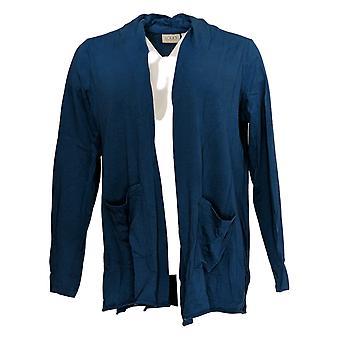 LOGO by Lori Goldstein Women's Top Open-Front Cardigan Pockets Blue A345358