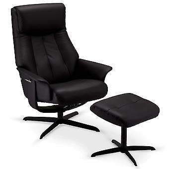 Ibbe Design Bilbao Recliner Black Leather, 77x85x106 cm