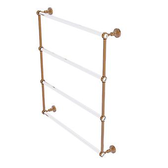 Pacific Grove Collection 4 Tier 30 Inch Ladder Towel Bar With Groovy Accents - Brushed Bronze
