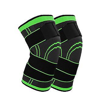 Green 2PC Polyester Fiber Latex Spandex Knit Pressure Bandage SportsKnee Pads