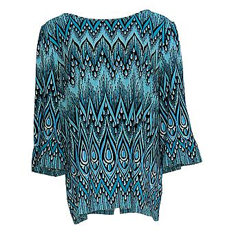 Bob Mackie Women's Top Peacock Feather Printed Knit Top Blue A303300