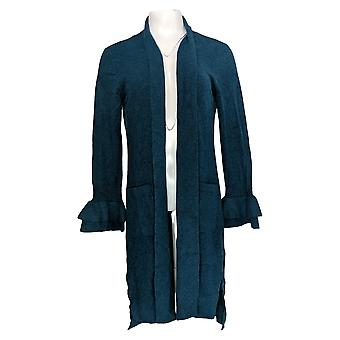 Isaac Mizrahi Live! Women's Sweater 2-Ply Cashmere Duster Blue A343870
