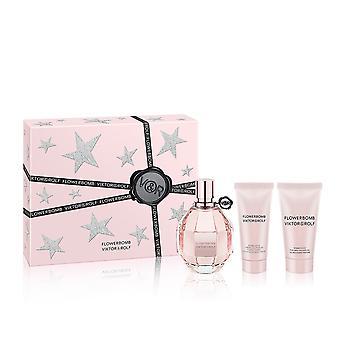 Viktor & Rolf Flowerbomb Gift Set 100ml EDP + 50ml Shower Gel + 40ml Body Cream
