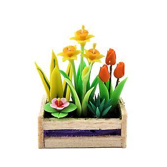 Dolls House Spring Flowers In Box Planter Daffs Tulipas 1:12 Garden Accessory