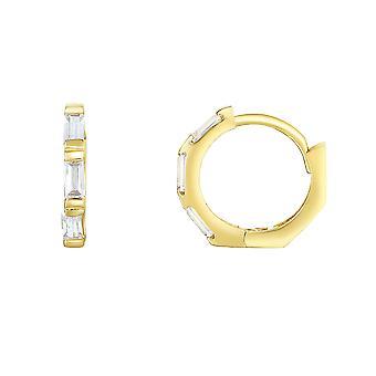14K Yellow Gold CZ Huggie Hoop Earrings, 12mm