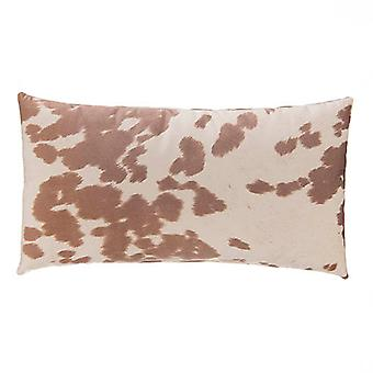 """Faux Cowhide Sueded Lumbar Pillow 22"""" X 12"""", Tan"""