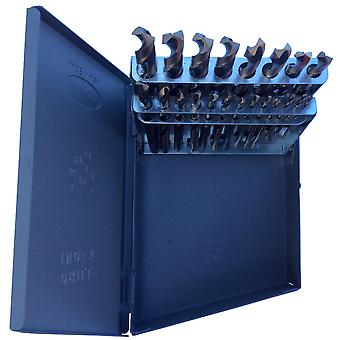 "1/16"" - 3/8"" Hss Black & Gold Mechanic Length Drill Bit Set, Metal Case, 21 Pieces (1/64 Increments), Kfd21Ml-Set"