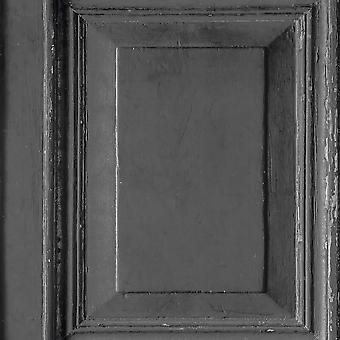 Wood Panels Wallpaper Black