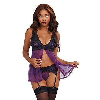 Dreamgirl Plum Sheer Babydoll and Garter Set with Lace Detail