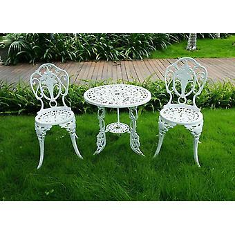White Bistro Patio Set Pöytä ja tuolit Aseta huonekalut Puutarha Ulkoistuin