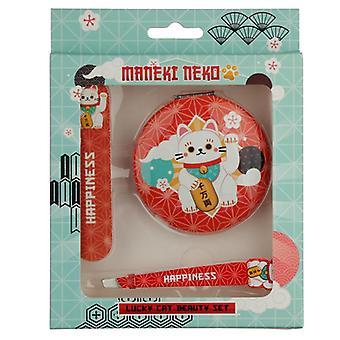 Ensemble de beauté chanceux de maneki de maneki de chat - miroir compact, pince à épiler de lime à ongles