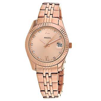Fossil Women's Scarlette Rose gold Dial Watch - ES4898