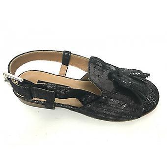 Shoes Woman Logan Sandal Popped In Black Crack Leather Pon Pon Tc 20 Ds16lo05