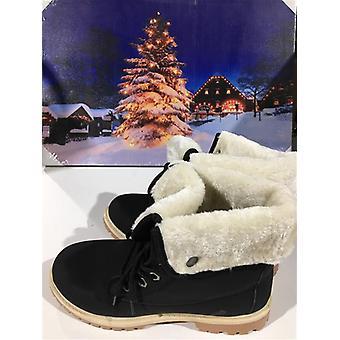 kvinners flat pels foret grep såle vinter hær bekjempe ankel boots størrelse 4 - svart