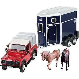 Britains 1:32 Land Rover Horse Set Farm Playset, Collectable Farm Set for Children, Toy Farm Animals