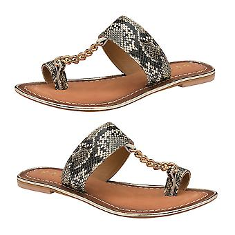 Ravel Snake-Print Taree Leather Mule Sandals  - Off White and Black