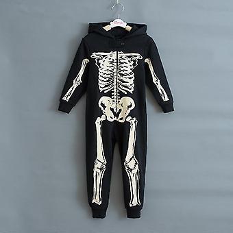 秋冬骷髅整体跳衣,儿童睡衣,万圣节服装