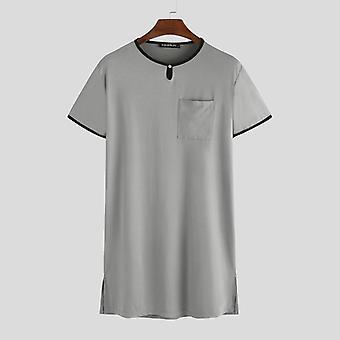 Incerun άνδρες ύπνου κορυφές κοντό μανίκι αναπνεύσιμο μακρύ πουκάμισο